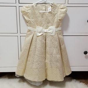 💜 Gymboree Golden Metallic Cream fancy dress 3t